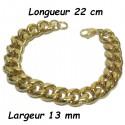 Bracelet acier dore maillon gourmette 13 mm HABR13D