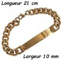 Bracelet acier dore maillon gourmette et plaque 10 mm BRDGOURPLAQ