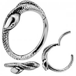 Anneau fermé motif serpent acier 316L 1,2 mm BH 19