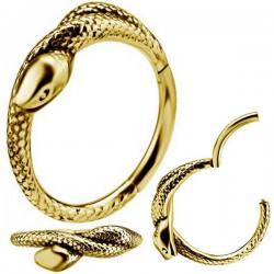 Anneau fermé motif serpent acier doré or fin 1,2 mm GPBH 19