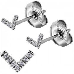 Boucles d'oreille acier 316L V avec 7 strass blanc ESBX 33
