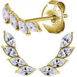 Boucles d'oreille acier doré or fin feuille en long avec 4 strass blanc ESGP 011
