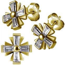 Boucles d'oreille acier doré or fin croix chopper avec 4 strass blanc ESBX 42
