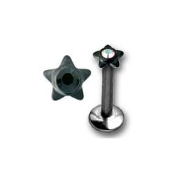 Bijou labret 1,2 mm acier 316L avec étoile et un brillant INMLBJS