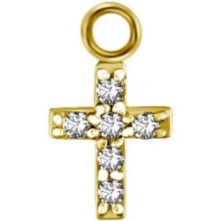 Accessoire charm croix avec 6 strass pour personnaliser bijoux en acier doré or fin GPABH 04