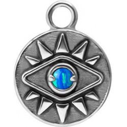 Accessoire charms pièce avec oeil et strass opale pour personnaliser bijoux en acier chirurgical ABH 03